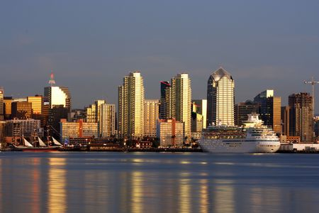ca: Sunset, ocean. Downtown San Diego, ca Stock Photo