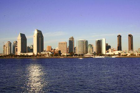 sunset ocean beach. downtown San Diego Skyline ca. Stock Photo