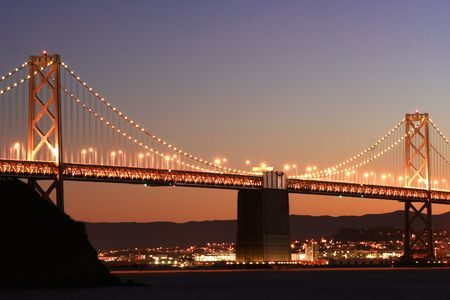 After sunset, Bay Bridge in San Francisco, Ca