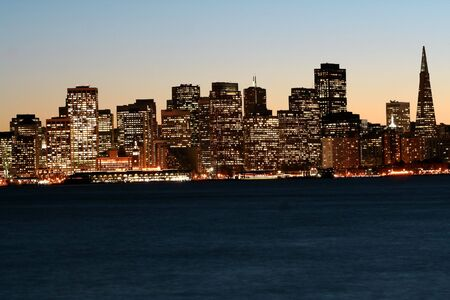 Downtown San Francisco after sunset, skyline