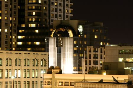 Night in downtown San Francisco. modern building Stock Photo
