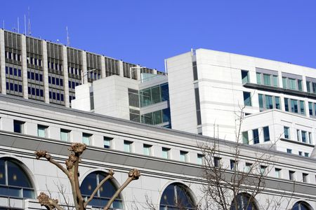 White modern building in San Francisco, ca Stock Photo