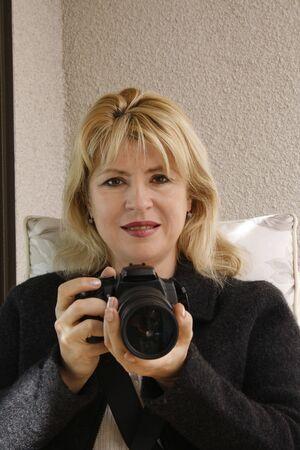 Woman&digital camera