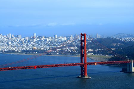 View  to San Francisco across of Golden Gate, Ca Stock Photo