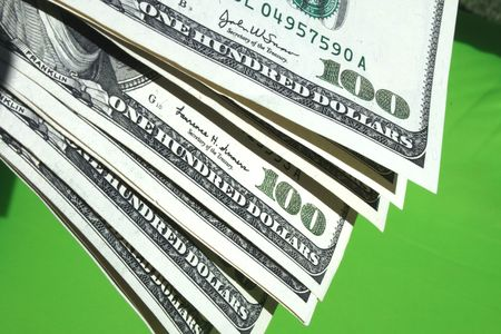Money  on the green background Stock Photo