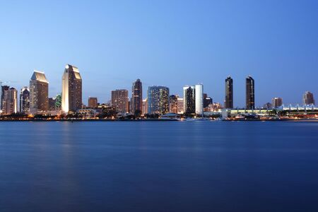 Downtown San Diego at evening from Harbor Island Stock Photo