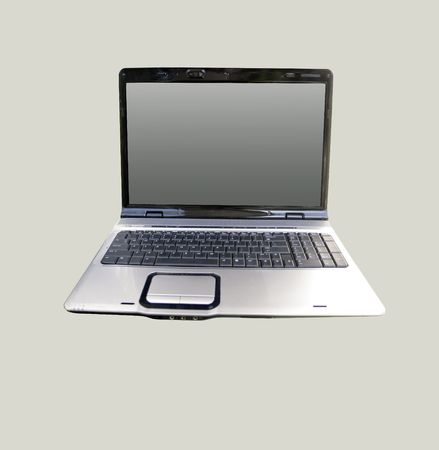 Laptop from the front on the gray background