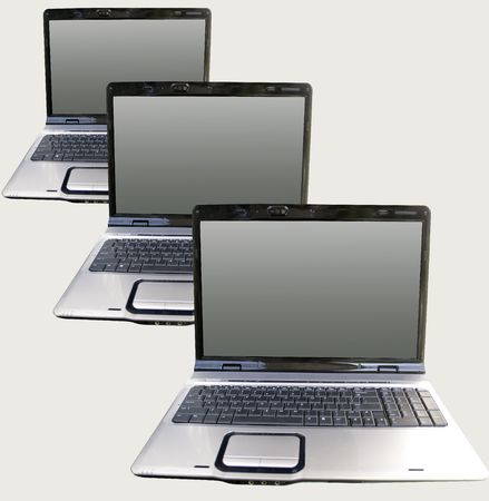 Laptops from the front on the gray background 版權商用圖片