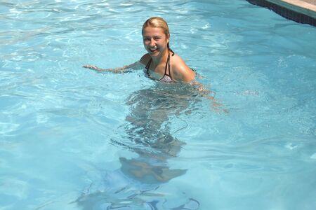 Girl in the pool Stock Photo