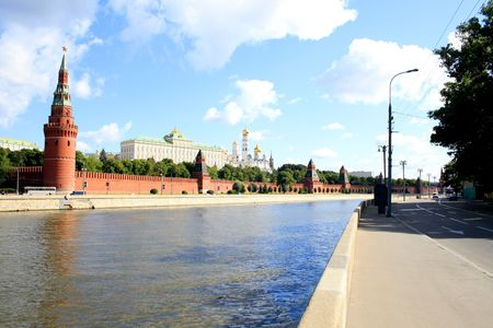 Day time, river. Walls and towers of the Moscow Kremlin Stock Photo