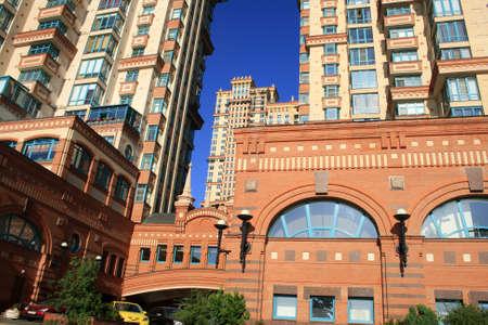 Blue sky. New modern apartment building  Stock Photo