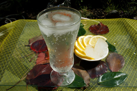 Glass of clean fresh water and lemons