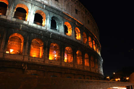 Night timeRoman Gladiator Coliseum columns in Rome, Italy