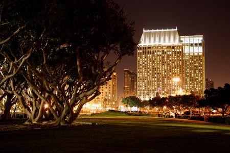 Night. Downtown, San Diego, CA skyline.