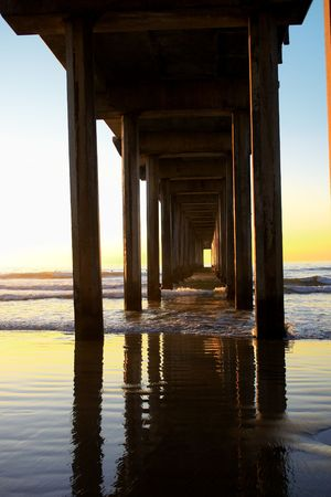 soppy: Sunset. Water splashing between the supports under the pier in La Jolla, CA