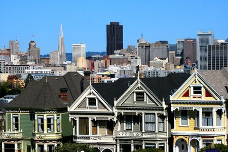 Victorian houses at Alamo Square in downtown San Francisco, California.