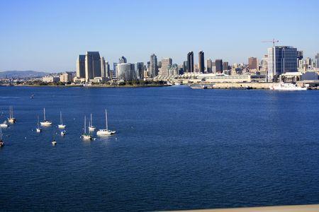 San Diego port, skyline from Coronado bridge.