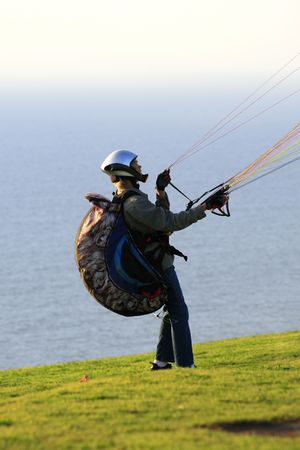 Parachutist is ready for start Stock Photo