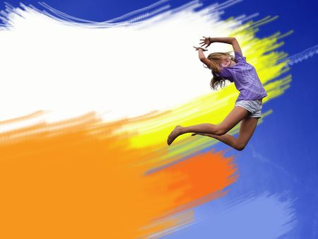 Happy jumping girl on the coloured background Stock Photo