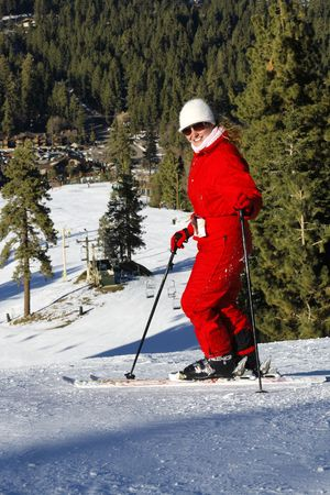 Portrait of active girl on ski in Mountains Stock Photo