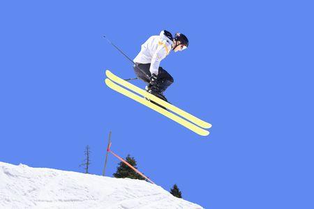 Skier making a huge jump