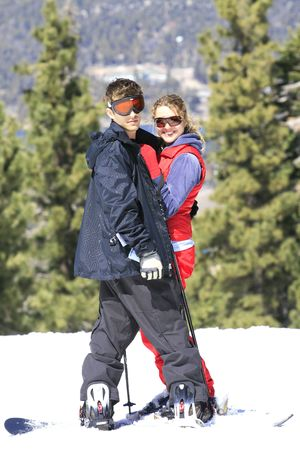Young happy smiling couple in Mountains