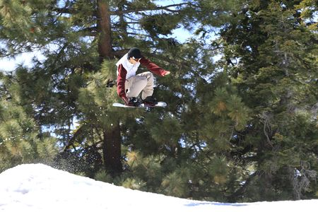 View of an airborne snowboarder in motion against a forest background.