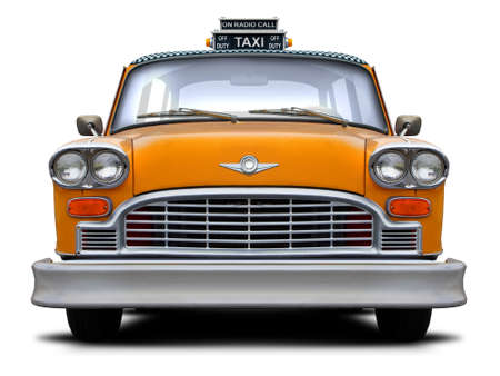 Retro checkered New York yellow taxi front view isolated on white background.