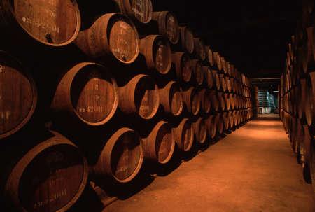 Barrels of Port wine await shipping