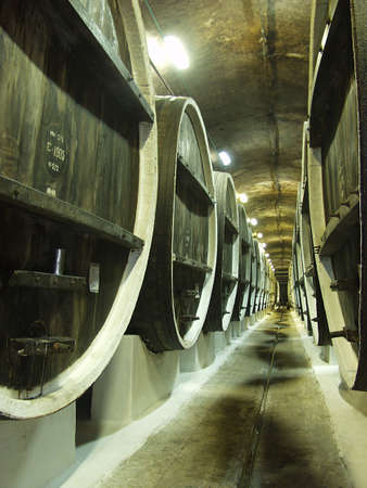 Barrels of Port wine await shipping