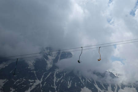 Suspended chair lift in the mountains of the North Caucasus Banco de Imagens
