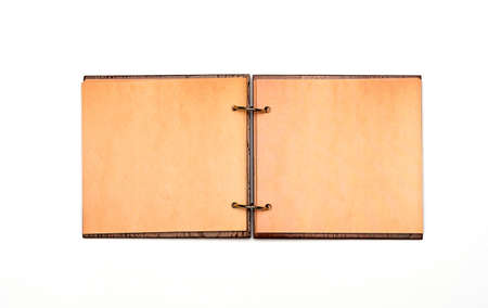 An Open Scrapbook Notebook With A Cover Made Of Natural Materials