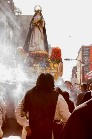 LIMA, PERU - AUG 29TH 2015: Procession of faith, of Santa Rosa de Lima, patroness of Peru.