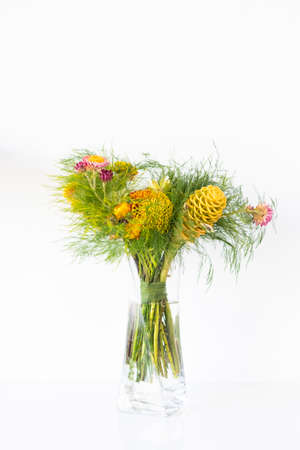 Bouquet of flowers with Zingiber yellow spectabile or microphone, maraca flower Imagens