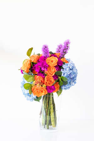Colorful floral arrangement with hydrangeas and roses