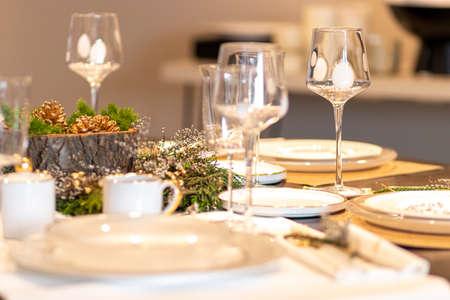 Elegant table set for Christmas dinner Stock fotó