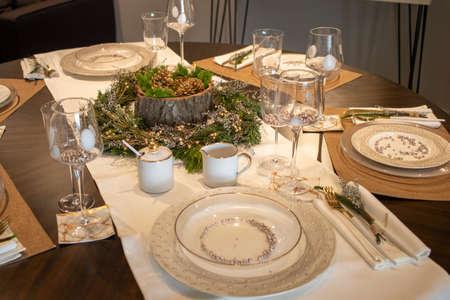 Elegant table set for Christmas dinner