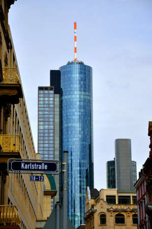 megapolis: Maintower Skyscraper in Frankfurt, Hessen, Germany Stock Photo