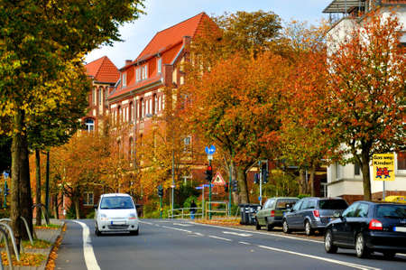Autumn street with cars in Fulda, Hessen, Germany