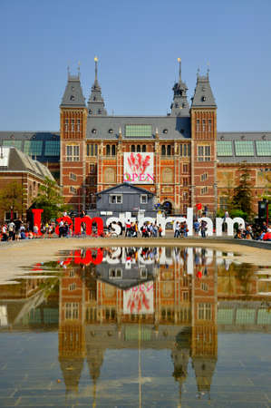 Rijksmuseum mit großen Buchstaben in Amsterdam, Holland (Niederlande)