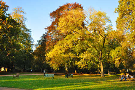 Autumn at the Stadtschloss park in Fulda, Hessen, Germany