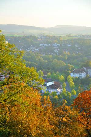 hessen: Autumn yellow trees on Frauenberg in Fulda, Hessen, Germany
