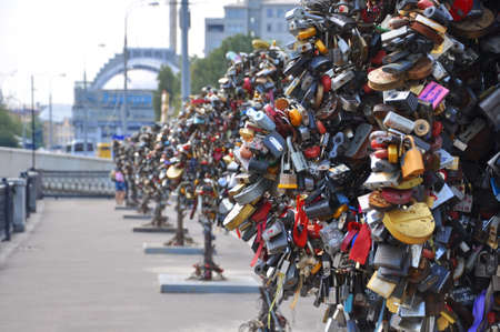 Thousands of wedding locks near Moscow River, Moscow, Russia
