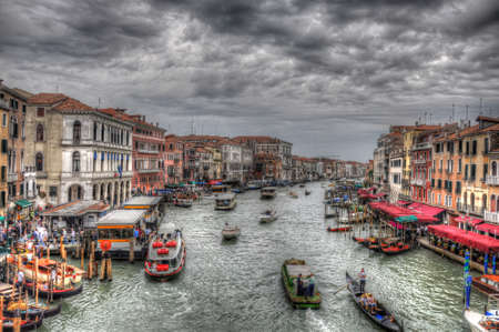 Grand Canal in Venice with ancient hoses, boats, gandolas and ships, Venice, Italy (HDR)