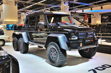 FRANKFURT - SEPT 14: Brabus 700 Fortifies 6x6 G-wagen presented as world premiere at the 65th IAA (Internationale Automobil Ausstellung) on September 14, 2013 in Frankfurt, Germany Editorial