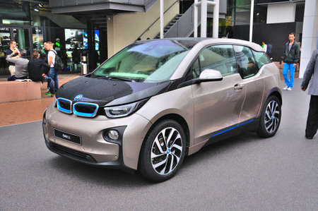 electro world: FRANKFURT - SEPT 14: BMW i3 presented as world premiere at the 65th IAA (Internationale Automobil Ausstellung) on September 14, 2013 in Frankfurt, Germany