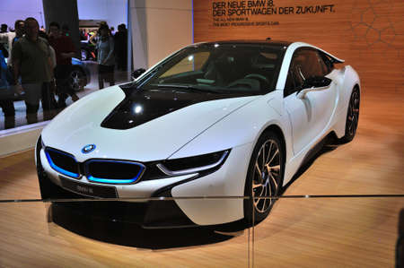 electro world: FRANKFURT - SEPT 14: BMW i8 presented as world premiere at the 65th IAA (Internationale Automobil Ausstellung) on September 14, 2013 in Frankfurt, Germany Editorial