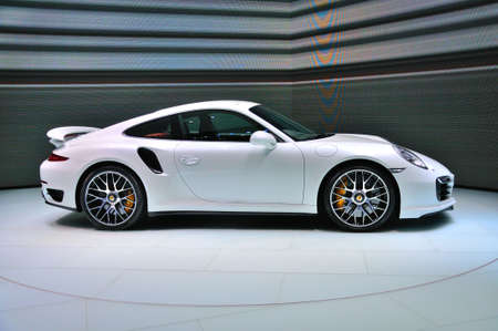 FRANKFURT - SEPT 14: Porsche 911 Turbo S presented as world premiere at the 65th IAA (Internationale Automobil Ausstellung) on September 14, 2013 in Frankfurt, Germany Editorial