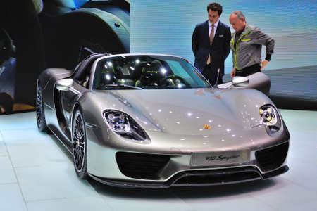 iaa: FRANKFURT - SEPT 14: Porsche 918 Spyder presented as world premiere at the 65th IAA (Internationale Automobil Ausstellung) on September 14, 2013 in Frankfurt, Germany