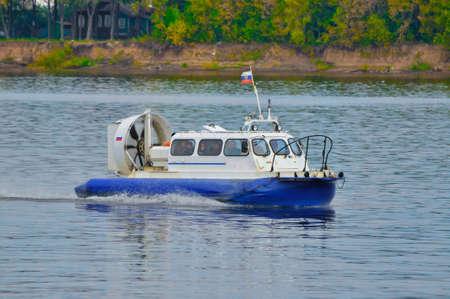 hovercraft: Cushioncraft (hovercraft) in Volga river, Yaroslavl, Russia Editorial